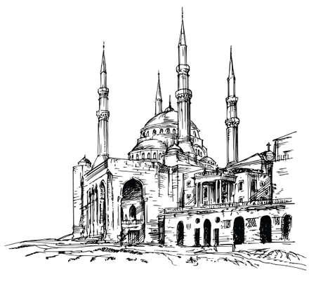 Ilustración de Mohammad Al-Amin Mosque in Beirut, Lebanon. - Imagen libre de derechos