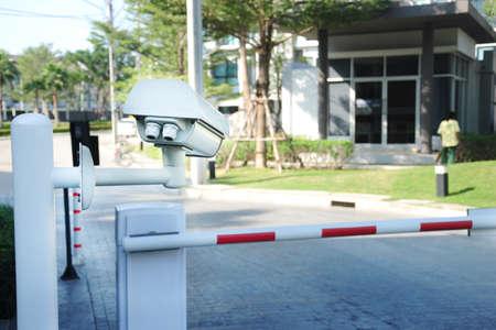 Foto de Villa surveillance camera or cctv stand on entrance and exit for security - Imagen libre de derechos