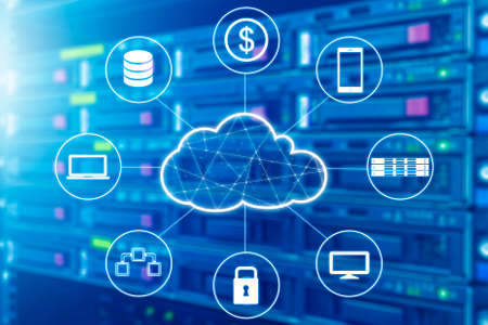 Foto de Cloud technology connected all devices with server and storage in datacenter background - Imagen libre de derechos