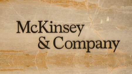 Photo for Mckinsey and Company new logo at the entrance of Istanbul office - Royalty Free Image