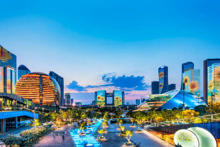 Photo pour Hangzhou Qianjiang New Town Lighting show - image libre de droit