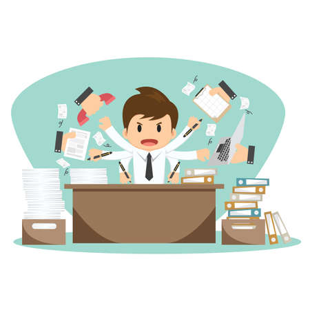 Illustration pour Businessman on office worker vector illustration. - image libre de droit