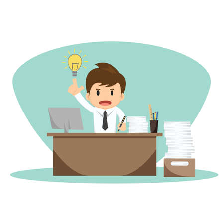 Illustration pour Businessman with thinking vector illustration. - image libre de droit
