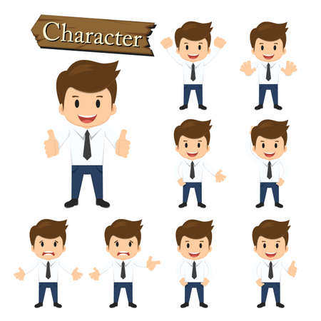 Illustration pour Businessman character set vector illustration. - image libre de droit