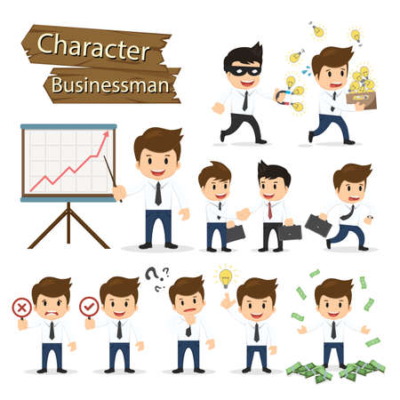 Ilustración de Set of business character expressing feeling and emotional concept vector illustration. - Imagen libre de derechos