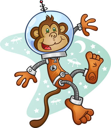 Illustration for Monkey Astronaut Cartoon Character in a Space Suit - Royalty Free Image