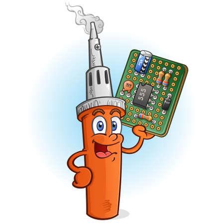 Illustration pour Soldering Iron Cartoon Character with Circuit Board PCB - image libre de droit