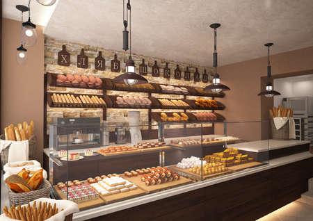 Foto de 3d rendering of a bakery shop interior design - Imagen libre de derechos