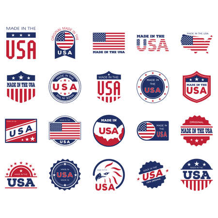 Illustration for Made in USA labels collection - Royalty Free Image