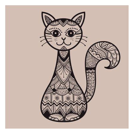 Ilustración de Decorative cat design - Imagen libre de derechos