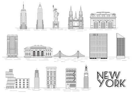 Illustration pour Collection of new york attractions - image libre de droit