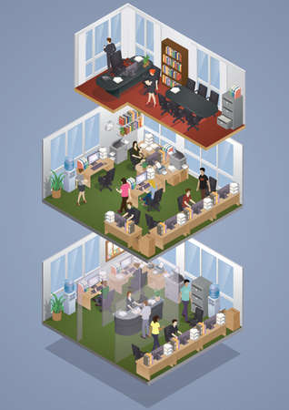 Illustration pour Isometric office layout - image libre de droit