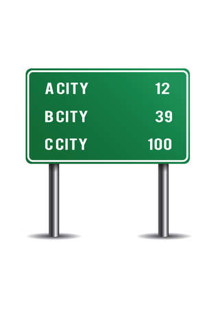 Illustration pour Mileage signs for highway routes - image libre de droit