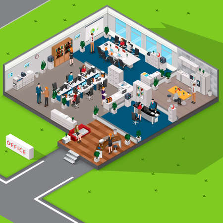 Illustration pour Isometric office with people - image libre de droit