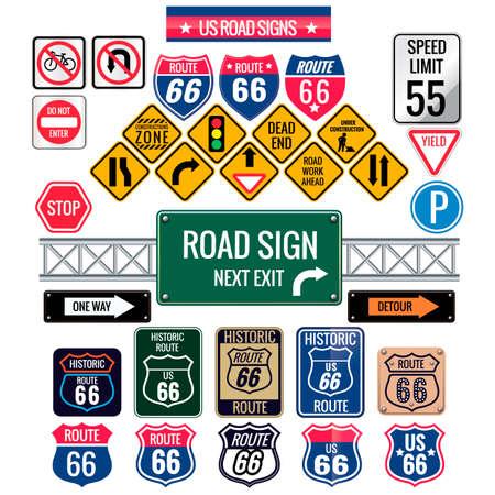 Illustration pour Set of us road signs - image libre de droit