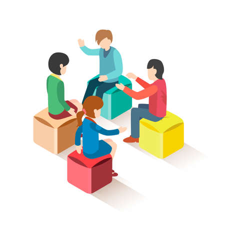 Illustration pour Isometric group of people sitting on stools - image libre de droit