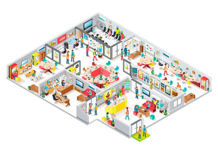 Illustration pour Isometric office - image libre de droit