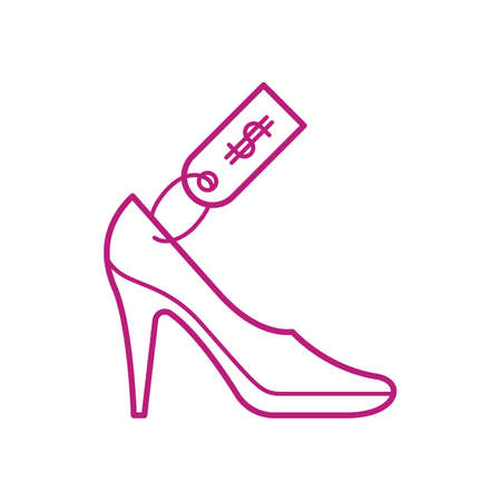 Illustration for high heeled shoe with price tag - Royalty Free Image