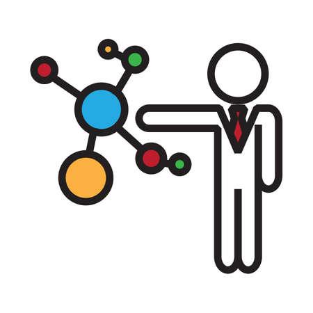 Illustration pour businessman with molecular structure - image libre de droit