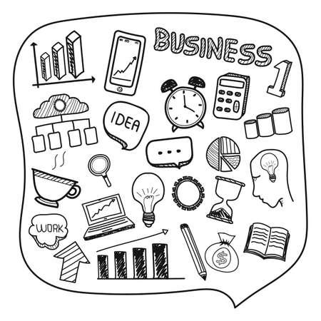 Ilustración de Collection of hand drawn business icons. - Imagen libre de derechos