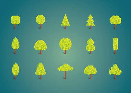 Illustration pour collection of trees - image libre de droit