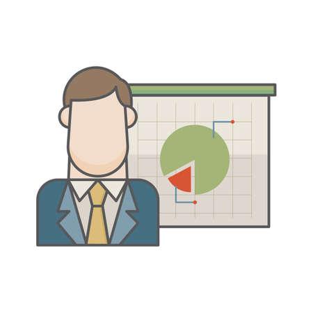 Ilustración de businessman and pie chart - Imagen libre de derechos