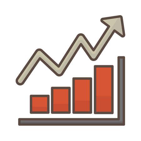 Illustration pour Bar graph with arrow going up - image libre de droit