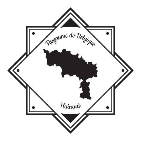 Illustration pour Hainaut map label - image libre de droit