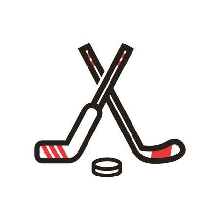 Ilustración de A hockey sticks and puck illustration. - Imagen libre de derechos