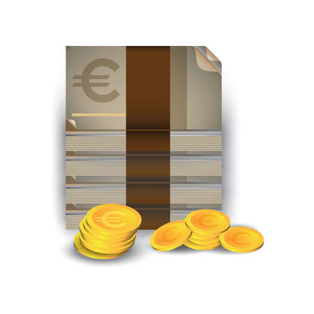 Illustration for Euro currency notes and coins - Royalty Free Image