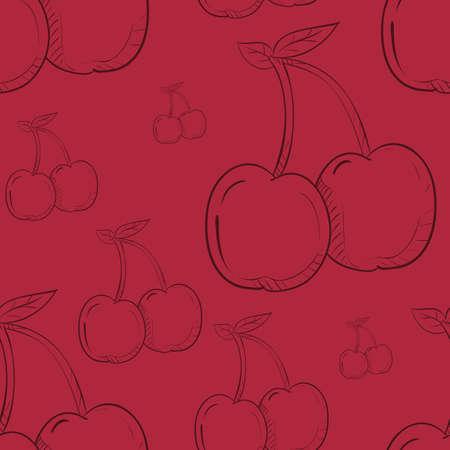 Ilustración de cherries pattern background - Imagen libre de derechos