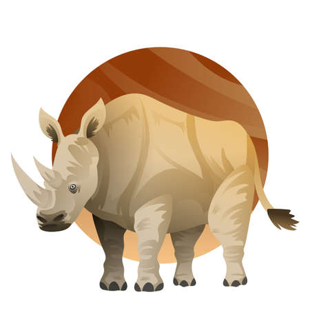 Illustration for A rhinoceros illustration. - Royalty Free Image