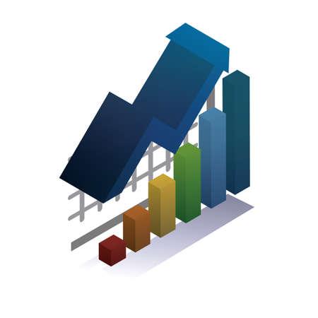 Illustration pour Bar diagram with arrow up - image libre de droit