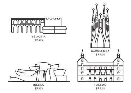 Ilustración de Collection of spain landmarks - Imagen libre de derechos