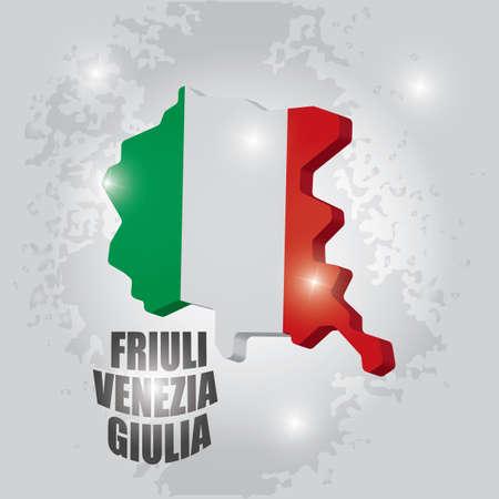 Illustration pour Friuli venezia giulia map - image libre de droit
