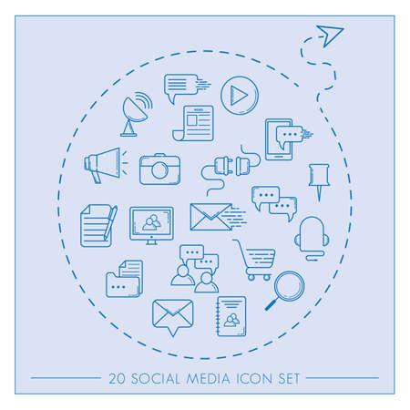 Ilustración de set of social media icons - Imagen libre de derechos