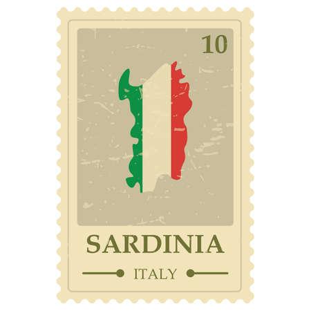 Illustration for Sardinia map postage stamp - Royalty Free Image