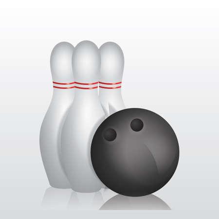 Ilustración de bowling pins and ball - Imagen libre de derechos