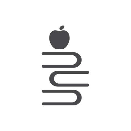 Illustration pour apple with stack of books - image libre de droit