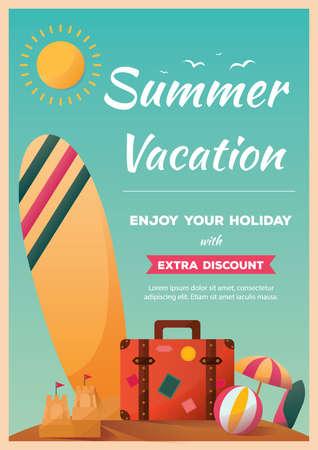 Ilustración de summer vacation poster - Imagen libre de derechos
