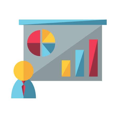 Illustration pour businessman and projector screen - image libre de droit