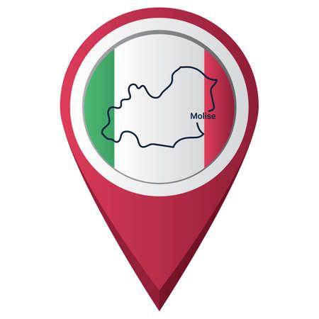 Illustration pour Map pointer with molise map - image libre de droit