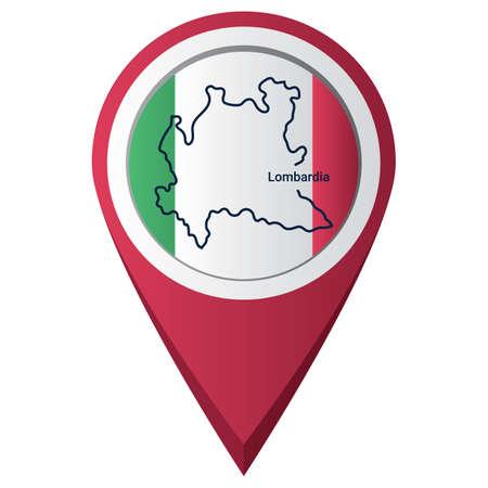 Illustration pour Map pointer with lombardia map - image libre de droit
