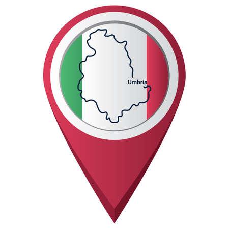 Illustration pour map pointer with umbria map - image libre de droit