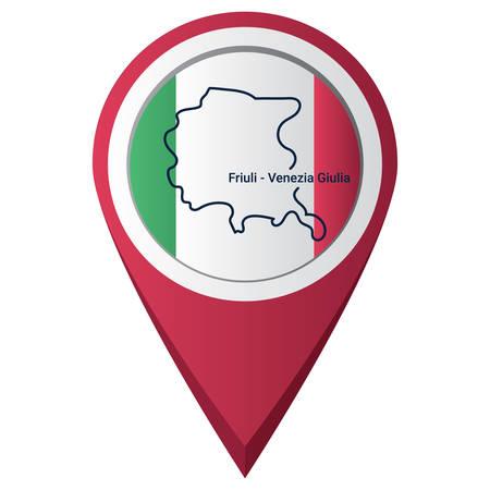 Illustration pour Map pointer with friuli-venezia giulia map - image libre de droit