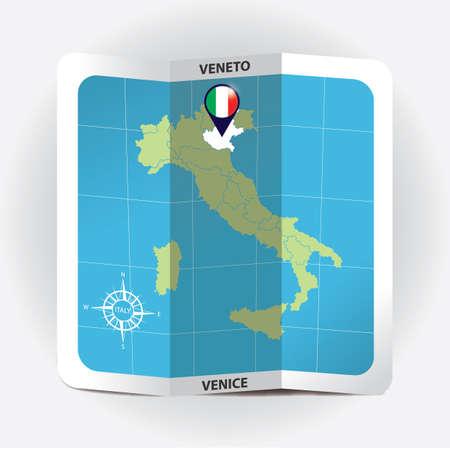 Illustration pour Map pointer indicating veneto on italy map - image libre de droit