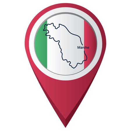 Illustration pour Map pointer with marche map - image libre de droit