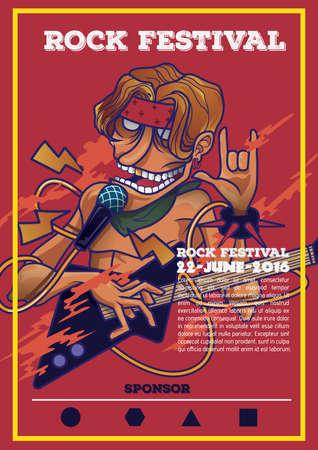 Ilustración de rock festival poster - Imagen libre de derechos