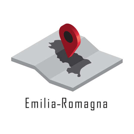 Illustration for emilia-romagna map with map pointer - Royalty Free Image