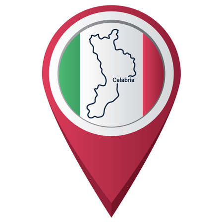 Illustration for Map pointer with calabria map - Royalty Free Image